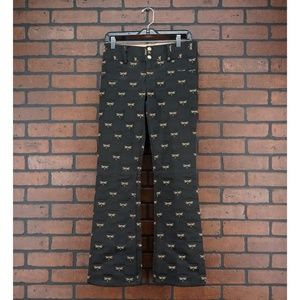 ALICE + OLIVIA Dragonfly Print Pants Embroidered 2